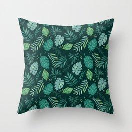 Leafy Palms Throw Pillow