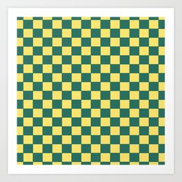 Checkers - Green and Yellow Art Print