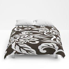 Espresso Brown Japanese Leaf Pattern Comforters