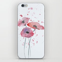 Red poppy flowers watercolor painting iPhone Skin