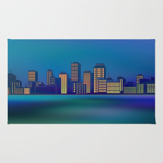 Seaside Cityscape Rug