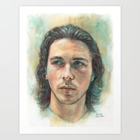 christian schloe Art Prints featuring Christian Bale by Hector Trunnec