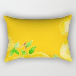 Lemons on Mustard Yellow Rectangular Pillow