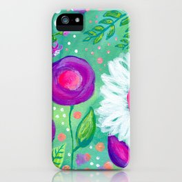 White Flowers, Purple Flowers, Floral Painting for Girl, Nursery Decor, Green, Blue, Coral Art iPhone Case