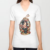 jon snow V-neck T-shirts featuring Waiting For Loves True Kiss by Tim Shumate