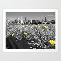 Flowers and Gravestones Art Print
