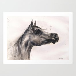 Horse Painting, horse lover gift, stallion painting, cowgirl gift Art Print