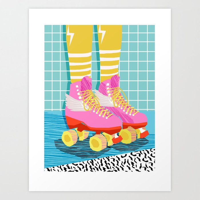 6dde8236179 The Right Stuff - retro throwback 80s style rollerskates skating rink  trendy 1980's Art Print