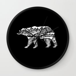 Bear Necessities in Black Wall Clock
