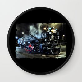 Signaling With Lantern. Lantern Up. UP 9000. Union Pacific. Steam Train Locomotive. © J. Montague. Wall Clock