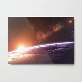 Earth and Rising Sun Metal Print