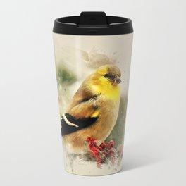 Goldfinch Watercolor Art Travel Mug