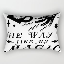 I LIKE MY COFFEE THE WAY I LIKE MY MAGIC, BLACK T-SHIRT Rectangular Pillow