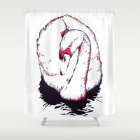 swan Shower Curtains featuring Swan by Oxana Art
