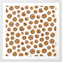Chocolate Chip Cookie Pattern Art Print