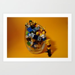 Lego's minifigs in a Glass Art Print
