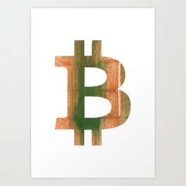 Bitcoin Peru green streaked wash drawing Art Print