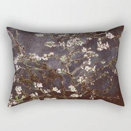 Vincent Van Gogh Almond Blossoms dark gray slate Rectangular Pillow