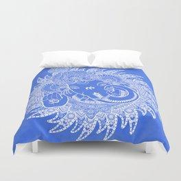 Ganesha Lineart Blue White Duvet Cover
