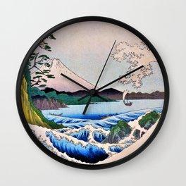 Utagawa Hiroshige - 36 Views of Mt.Fuji - The sea Satsuta at in Suruga Wall Clock