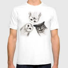 The Owl's 3 White LARGE Mens Fitted Tee