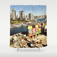 vancouver Shower Curtains featuring Vancouver giants by amberino