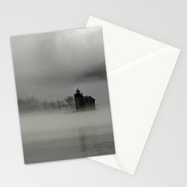 Lighthouse in fog Stationery Cards