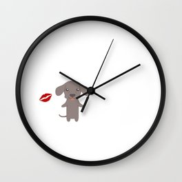 I Kissed A Weimaraner And I Liked It Cute Dog Kiss Gift Idea Wall Clock