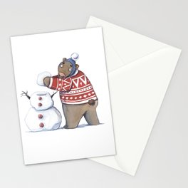Bear with snowman Stationery Cards