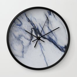 White Marble with Black and Blue Veins Wall Clock
