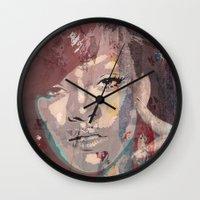 rihanna Wall Clocks featuring Rihanna by Bit of Art