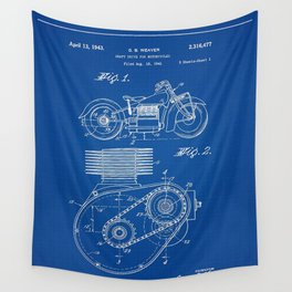 1943 Weaver Motorcycle Drive Shaft Patent Blueprint Wall Tapestry