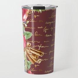 Elegant Christmas - burgundy rose Travel Mug