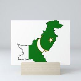 Pakistan Map with Pakistani Flag Mini Art Print