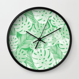 Tropical Shadows - Vibrant Green / White Wall Clock