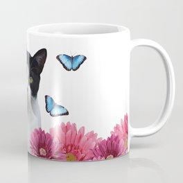 Black and white Cat with Gerbera Flowers Coffee Mug