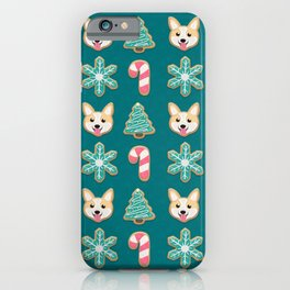 Holiday Cookies - Corgi, Christmas Tree, Snowflake and Candy Cane, Sweet and Cute Festive Pattern in Teal Green, Pink and Beige iPhone Case