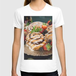 Cinnamon Rolls with Glazed Sugar Surrounded by Strawberries T-shirt