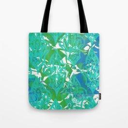 Blue Green Damask Tote Bag
