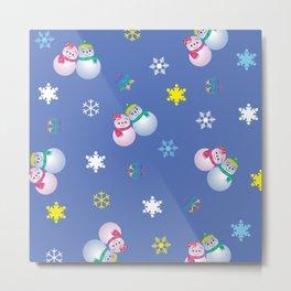 Snowflakes & Pair Snowman_C Metal Print