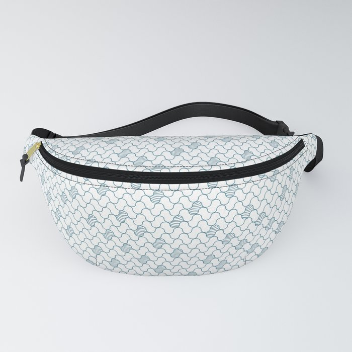 Abstract blue waves on white Fanny Pack