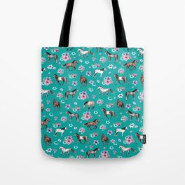 Horse Pattern, Floral Print, Turquoise, Little Girls Room, Horses Tote Bag