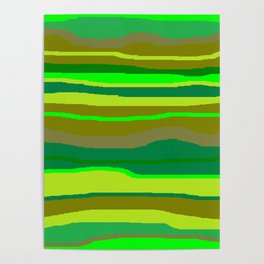 Green Multi Brush Strokes Poster