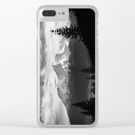 Mount Shasta Morning in Black and White Clear iPhone Case