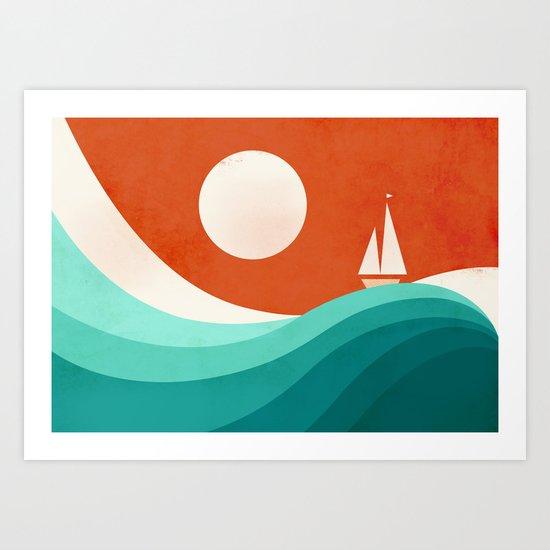 Wave (night) Art Print