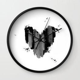 Black And Grey Abstract Love Heart Wall Clock