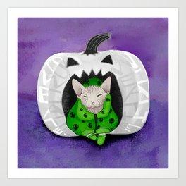 Sphynx Cat Wearing A Green Skull Hoodie Sitting in a White Pumpkin - Halloween Art Print