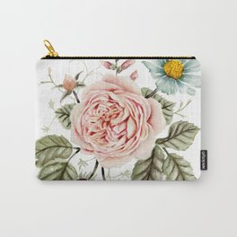 Rose and Foxglove Watercolor Florals Carry-All Pouch