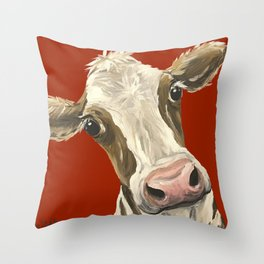 Cute Cow Painting, Red Cow Painting Throw Pillow