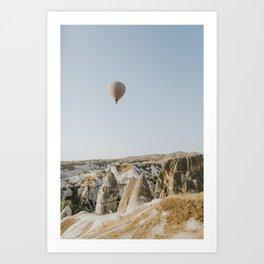 Balloon over mountains in Cappadoccia Art Print